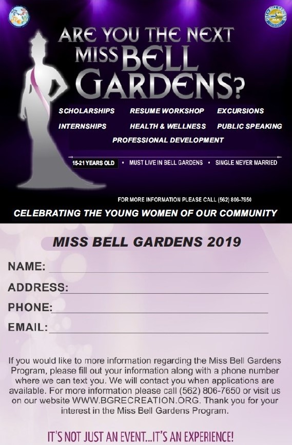 Last chance to sign up for Miss Bell Gardens Pageant